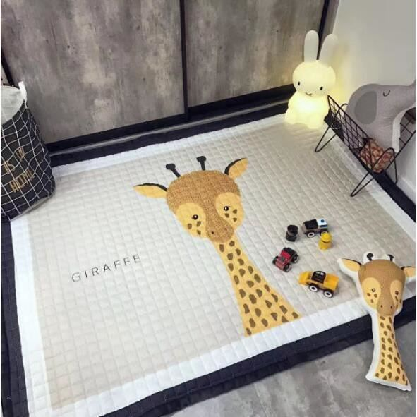 Tapis Enfant Epais Tapis de Ramper Jeu en Coton Antidérapant Bébé  Décoration de Chambre Enfant 145*195cm Girafe