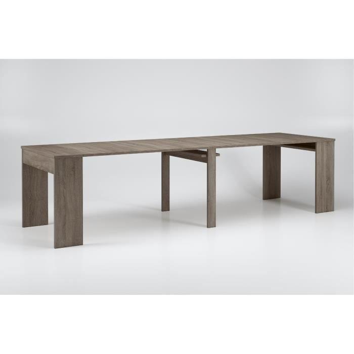 Table De Salle A Manger Extensible Jusqu A 301 Cm Chene Fonce