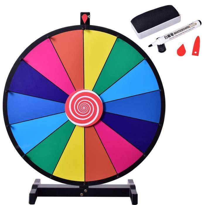 Costway Roue De La Fortune 24 Pouces Prize Wheel Avec 14