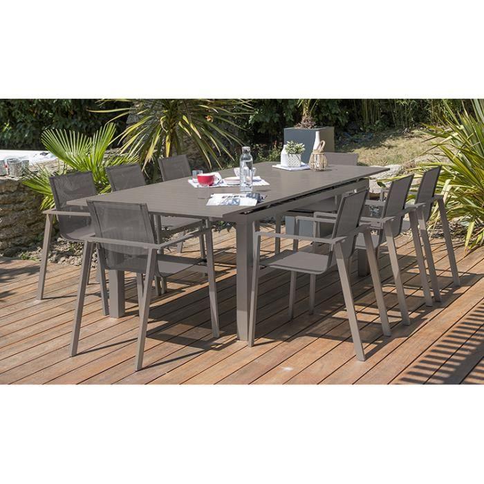 Ensemble jardin table extensible et 8 fauteuils sable ...