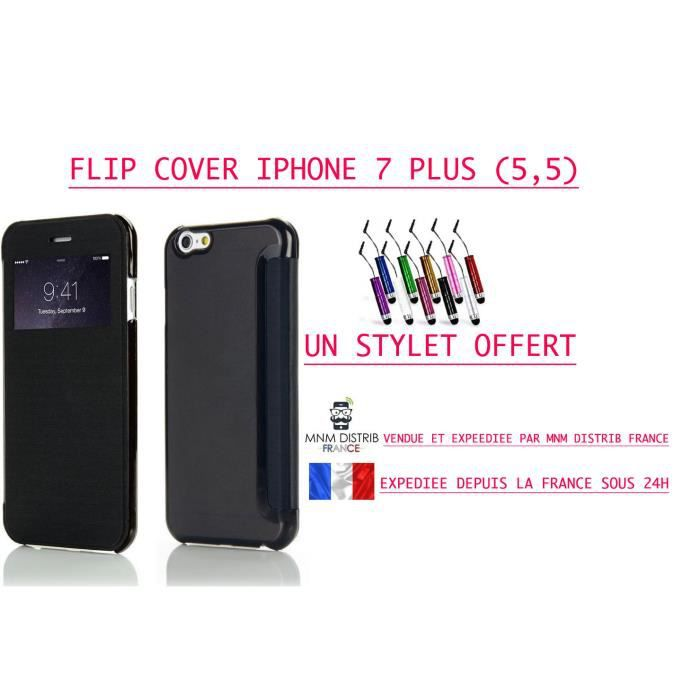 Mnm distrib etui coque housse iphone 7 plus 5 5 flip for Etui housse iphone 5