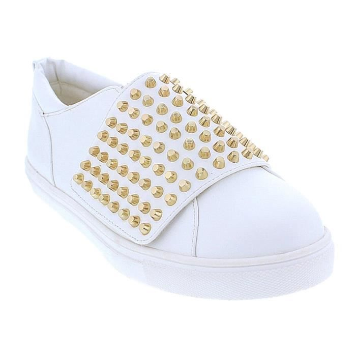 Chic-12 Mode clouté High Top Sneakers Creepers RR8C7 Taille-39 1-2 zgbms9rrZ