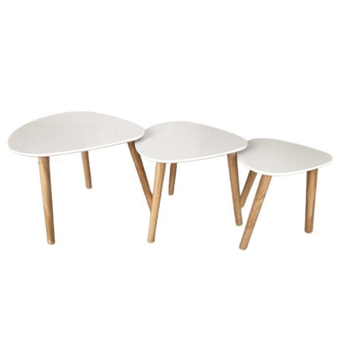 Lot De 3 Table Basse Style Scandinave En Mdf Laqué Blanc