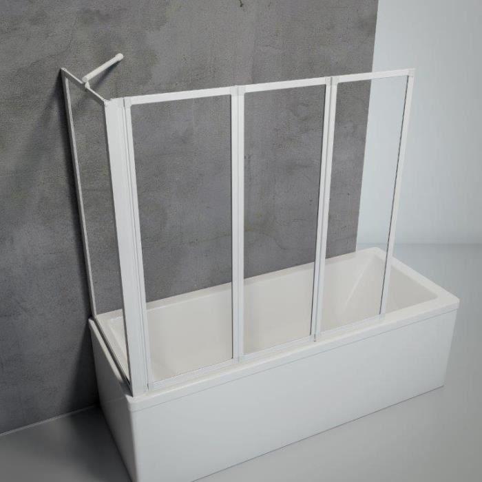 Mai/&Mai Pare-Baignoire Transparent 70x120x140cm 3 Volets Paroi de Douche pour Baignoire en Verre ESG avec Rev/êtement NANO Easy Clean C113R