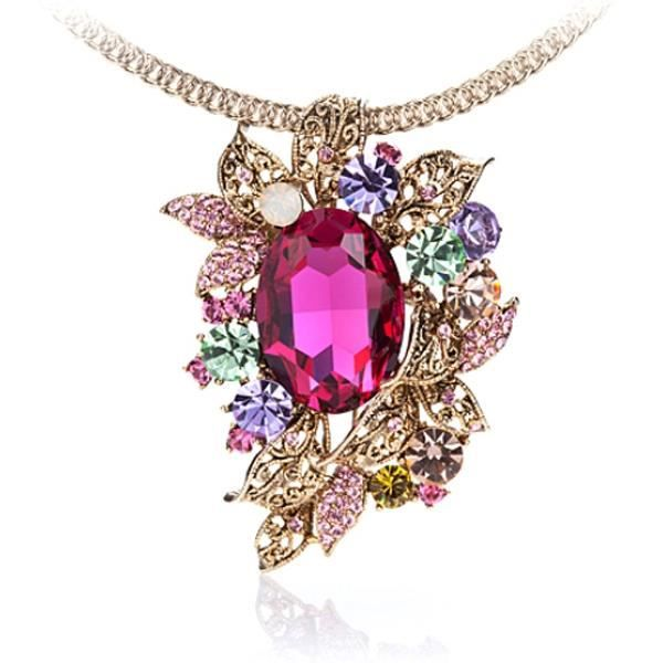 Collier Broche Nature en Cristal de Swarovski Elements Fushia et Monture Plaqué Or jaune
