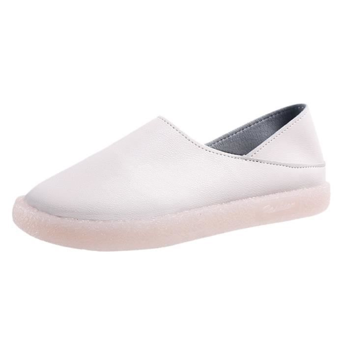Femmes bout rond Solide Couleur Chaussures confortables Chaussures plates simples Pois Chaussures bateau--1629