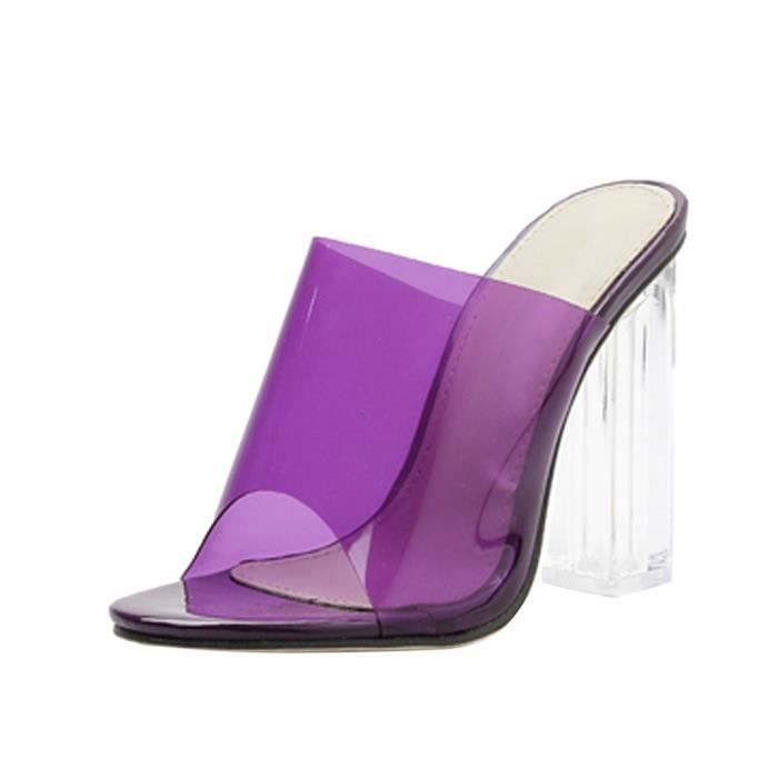 Women's Summer Casual Fashion Crystal Transparencies Slippers High Heels Shoes Violet MHL90612331PP38