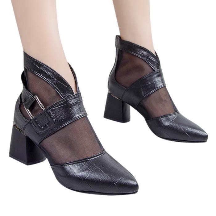 Mode féminine Casual Rome Bout pointu Talon Carré Chaussures Bottes courtes Dames CCY90507077BK38_YOU