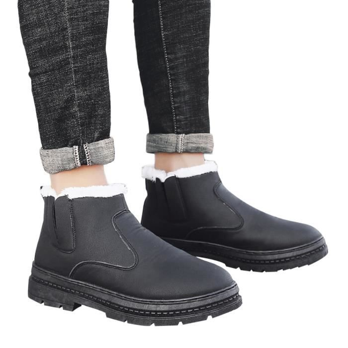 Hiver homme Souliers simple travail adulte marche Chaussures de sécurité Chaussures de sport Bottes de neige Noir