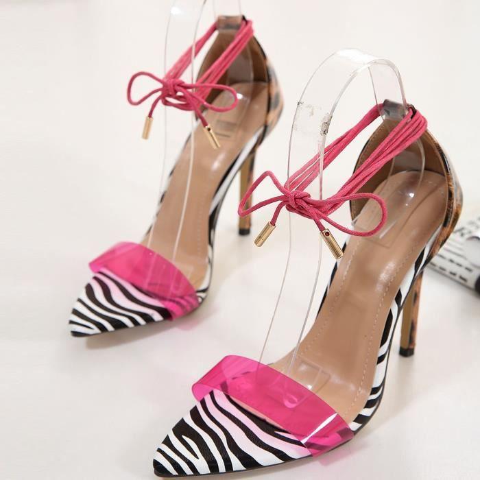 Talon haut des femmes d'été Toe Straps imprimé léopard opéenne Chaussures Mode Sandales Rose vif
