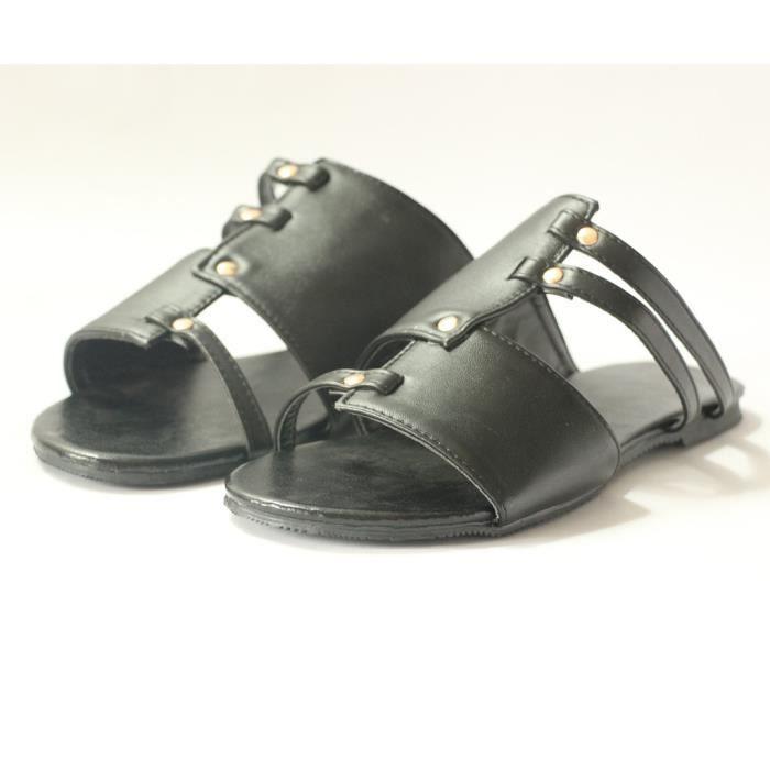 Femmes Flats combat Rétro ouvert Chaussures en cuir Romaines plage de chaussures Roman Chaussons_bub110