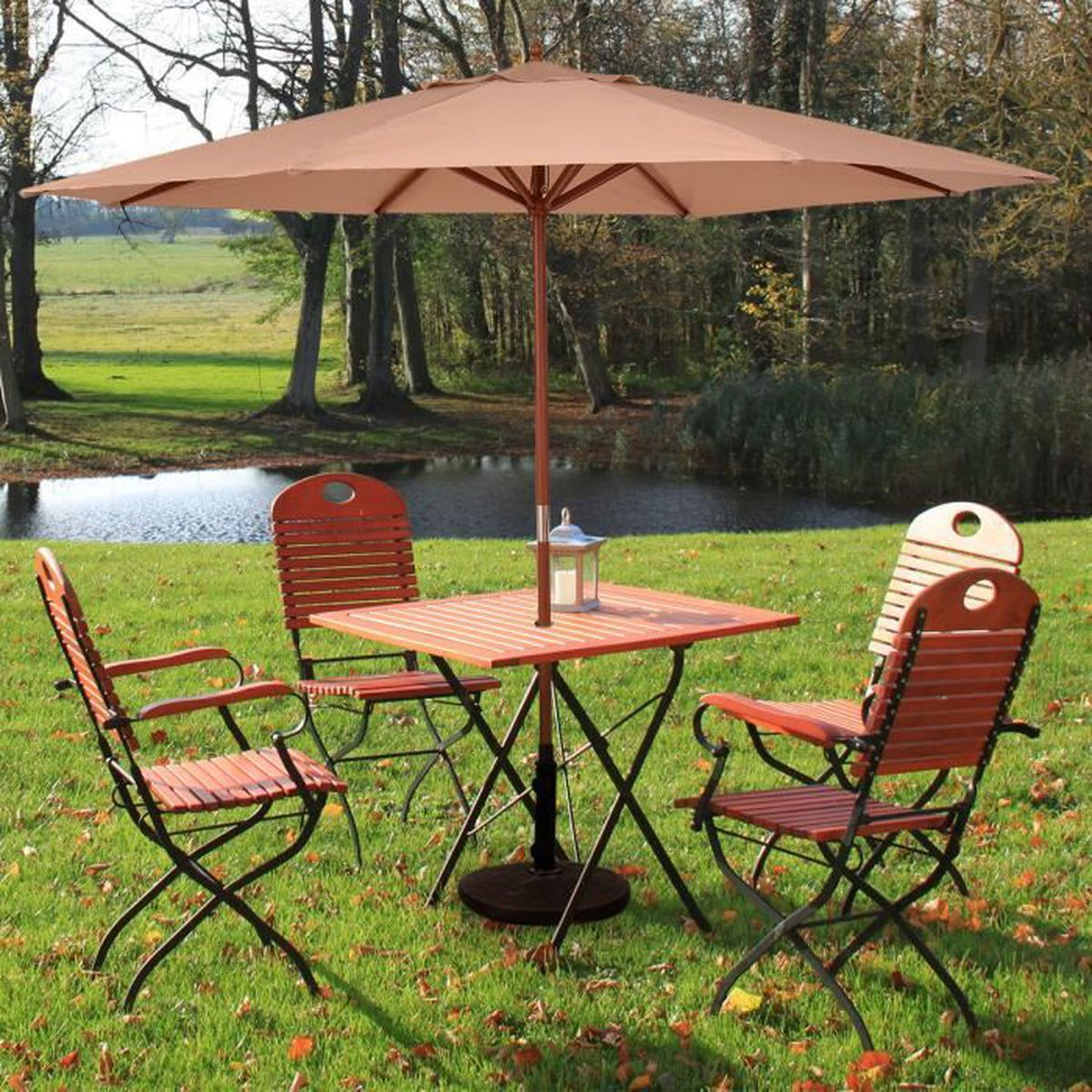 parasol parapluie parasol de march de la cr me solaire de jardin en bois 270cm achat vente. Black Bedroom Furniture Sets. Home Design Ideas