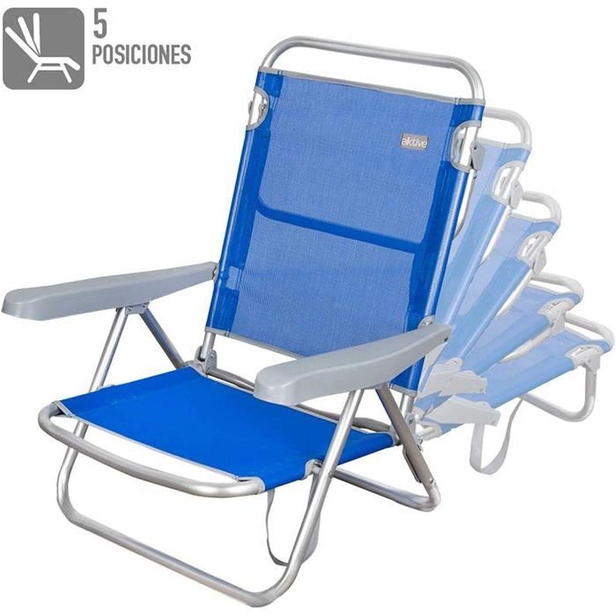 Chaise de plage basse, pliante avec 6 positions ,de couleur bleue