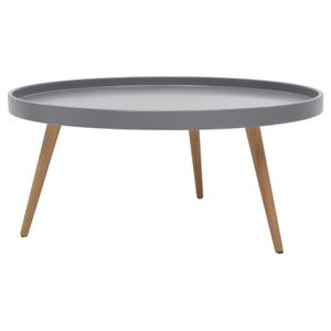 TABLE BASSE NORDIC Table basse ronde scandinave laquée gris +