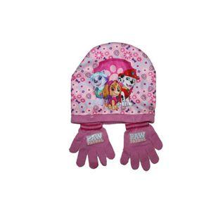 BONNET - CAGOULE ensemble bonnet et gants pat patrouille rose