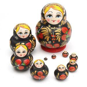 6 pièces peint à la main poupée russe nidification babushka matriochka