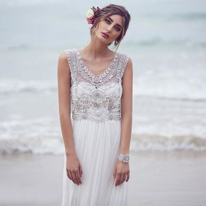 ROBE Robe de mariée longue de plage bohême col rond san