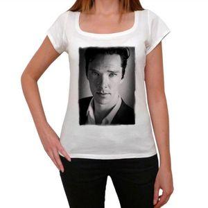 T-SHIRT Benedict Cumberbatch Tshirt, Femme Tshirt Blanc, O