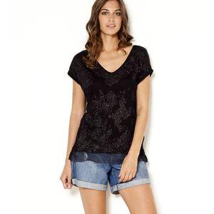 T-SHIRT Camaieu - T-shirt femme noir fils brillants base v