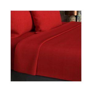 DRAP PLAT Drap plat coton 260x300 cm uni rouge