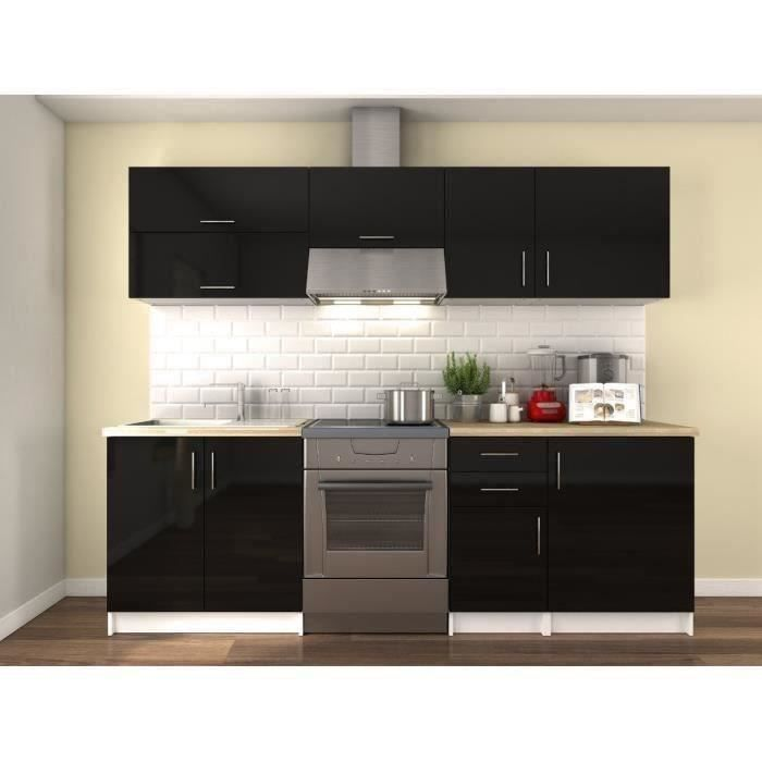 obi cuisine compl te l 2m40 noir laqu achat vente cuisine compl te obi cuisine compl te. Black Bedroom Furniture Sets. Home Design Ideas