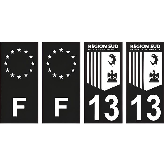 Département 13 région Sud logo noir blanc- PACA logo - F europe noir - 4 Autocollants Stickers Auto Plaque d'immatriculation -