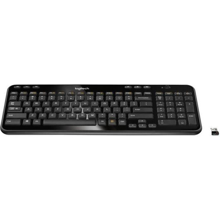 logitech clavier sans fil k360 dark grey prix pas cher cdiscount. Black Bedroom Furniture Sets. Home Design Ideas