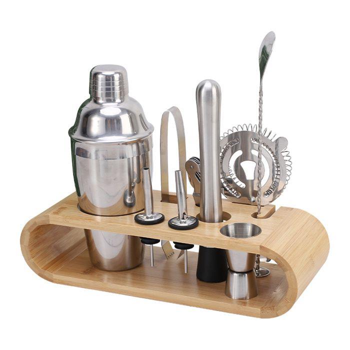 HOMEMAXS 17PCS / set Kit Shaker à Cocktail Professionnel Outils de cocktail en acier inoxydable avec support