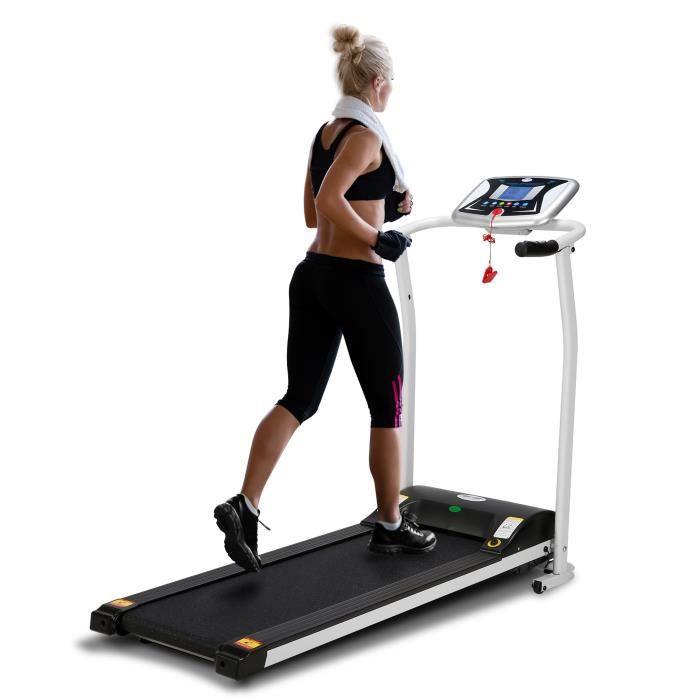 Tapis de Course LONTEK Pliable, 10 KM / H, Fréquence Cardiaque, Vitesse Réglable, écran LCD, avec 12 Programmes