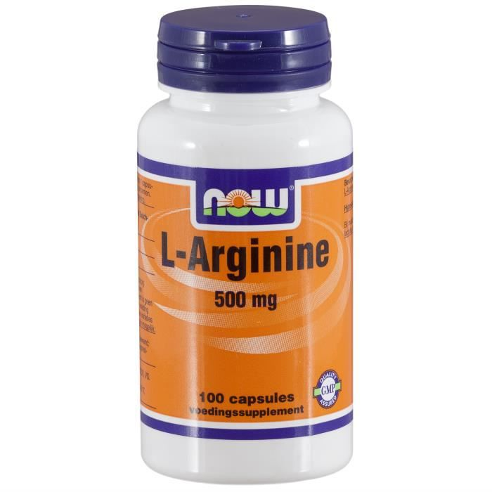 L-Arginine 500 mg (100 capsules). Now Foods.