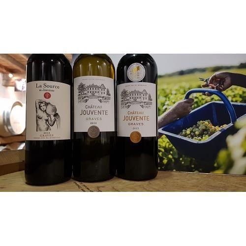 Lot de 3 bouteilles - AOC Graves - Château Jouvente rouge et blanc - millésimes 2015 et 2019 / La Source de Jouvente -Millésime 2016