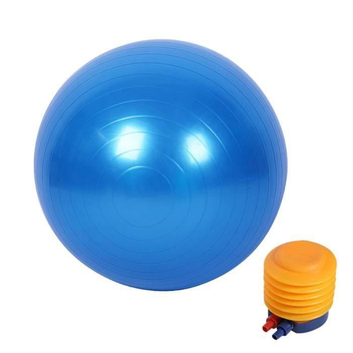 Boule de yoga lisse +pompe à air Boule d'exercice fitness gym de 55 cm bleu