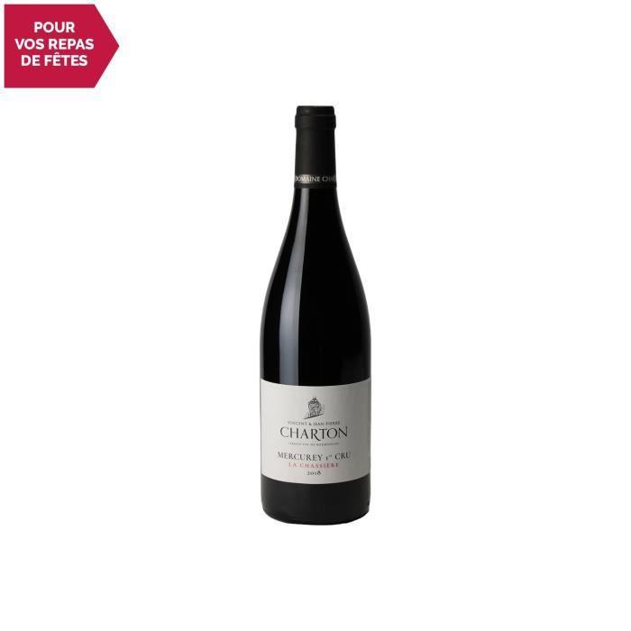 Mercurey premier cru La Chassière Rouge 2018 - 75cl - Domaine Charton - Vin AOC Rouge de Bourgogne - Cépage Pinot Noir