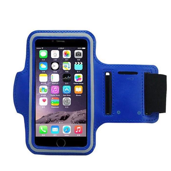 Bras brassard Arm bracelet de bande téléphone portable sac étanche iPhone en cuir 7 / 6s (4,7 pouces, bleu)