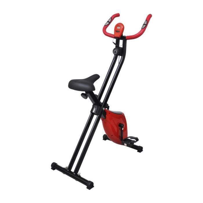 Vélo d'appartement pliable magnétique rouge et noir Xbike sport fitness musculation 0702007