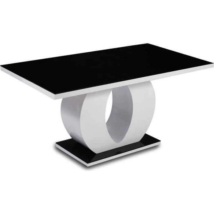 Table de salle à manger rectangulaire laquée noire et blanche Oamaru