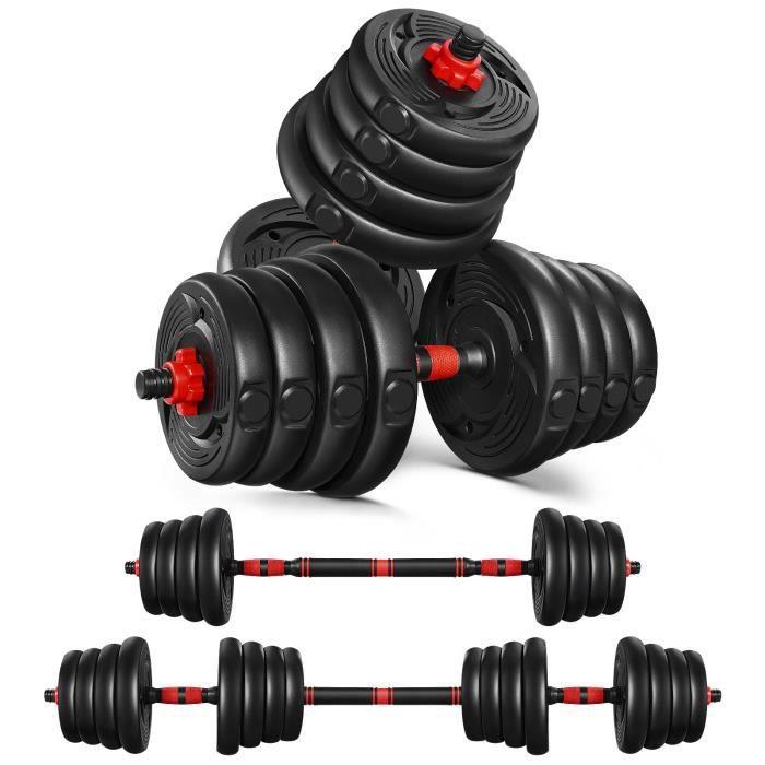 MOVTOTOP Ensemble d'Haltères Multifonctionnel 2 en 1 avec Barre d'Extension,16 Disques Poids Ajustable pour Fitness , Musculation