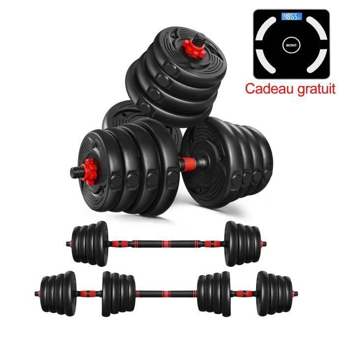 Kit Haltères - 30kg musculation réglables – poids musculation - Noir rougeâtre