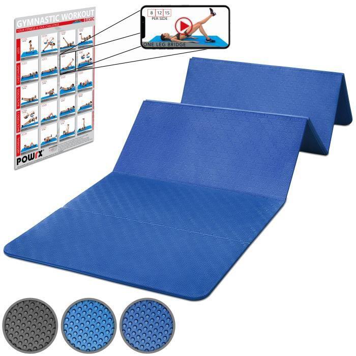 Tapis de gymnastique pliable 180 cm sans PVC, bleu ou noir Couleur: Bleu foncé