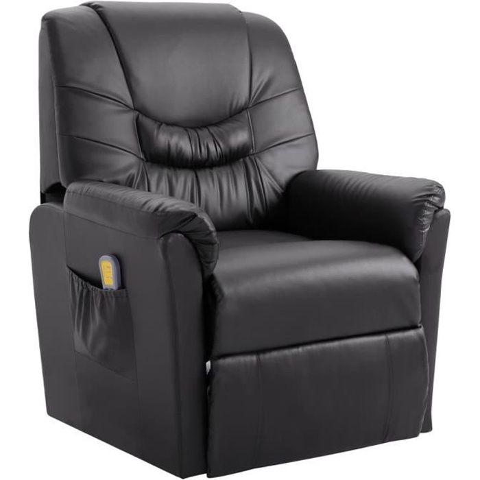 Fauteuil Relax Inclinable Électrique - Fauteuil de Massage - Fonction de Chauffage - Gris Similicuir - 82 x 90 x 104 cm
