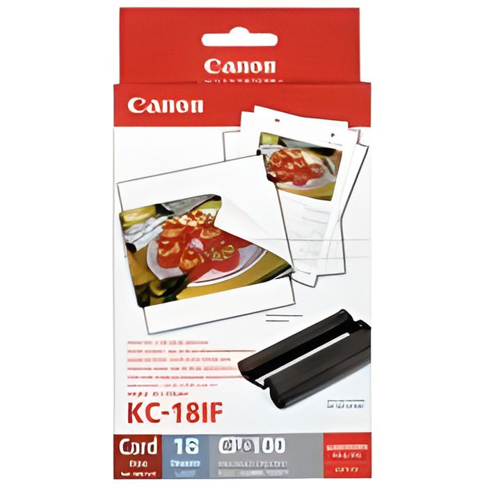 CANON KC-18IF Kit cartouche et papier photo - 18 impressions - Format carte de crédit autocollant 5,4 × 8,6 cm