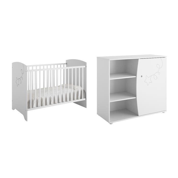 Lit bébé 60x120 et Commode à langer Adèle - Blanc