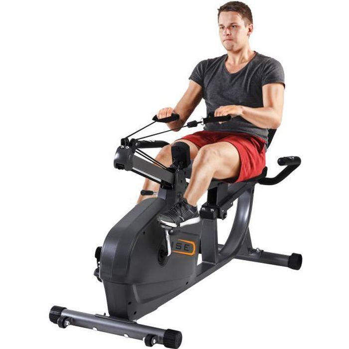 ISE Vélo d'appartement semi-allongé-Vélo Couché Magnétique-8 Niveaux de résistance réglables-Masse d'inertie 8 kg-Cordon élastique