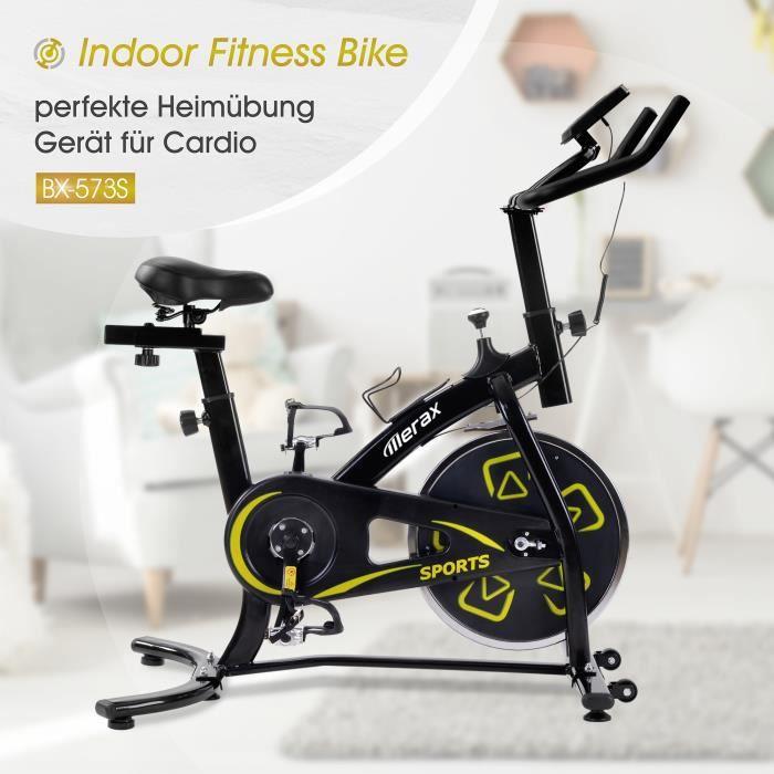 Nouveauté Vélo d'appartement - Fit Bike avec console LCD - Noir-Jaune - Expédié d'Allemagne
