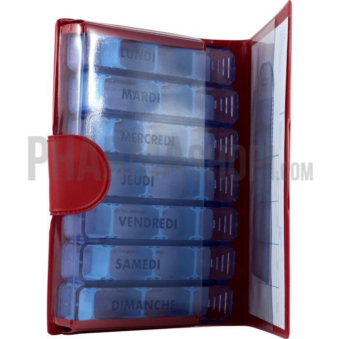 Pilulier 7 jours petit modèle rouge Medidose - 1 pilulier