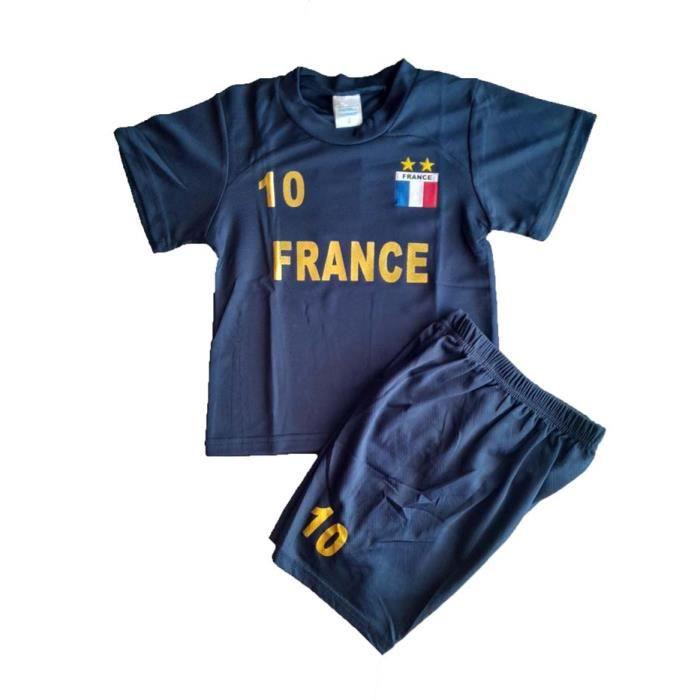 maillot + short FRANCE 2 étoiles enfant bleu