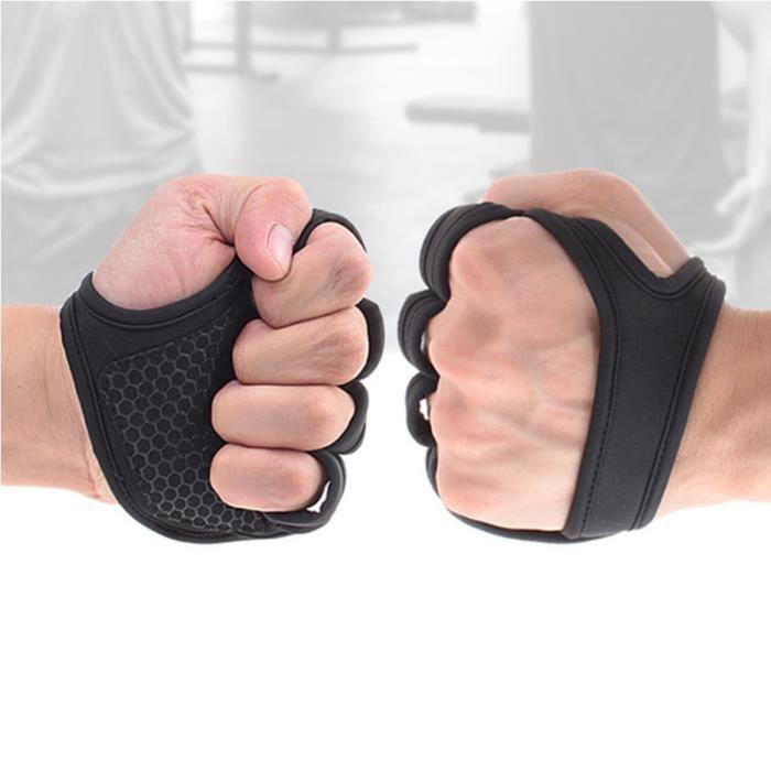 Gants de musculation ventilés Fitness Cross Training Antidérapant Palm Sleeve Idéal pour Ups (Black-L)