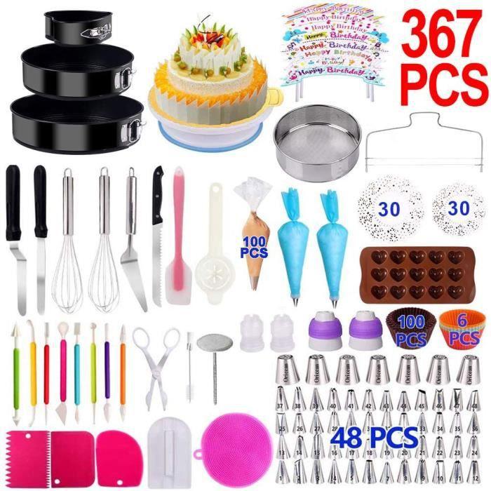 Oricean Kit Pâtisserie 367 PCS Moules à Gâteau Douille Pâtisserie Plateau Tournant Kit de Décoration de Gâteau Professionnel