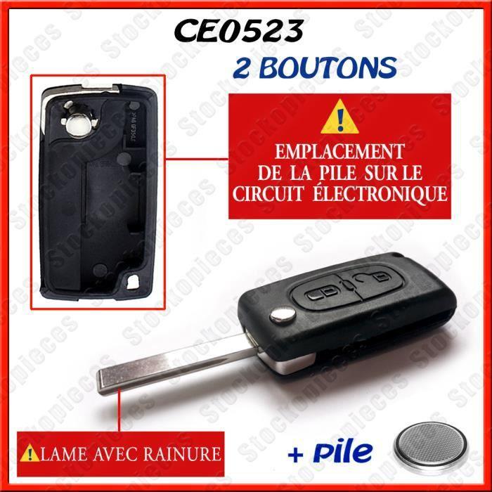 Coque Télécommande plip clé Peugeot compatible EXPERT BOXER CE0523 avec rainure