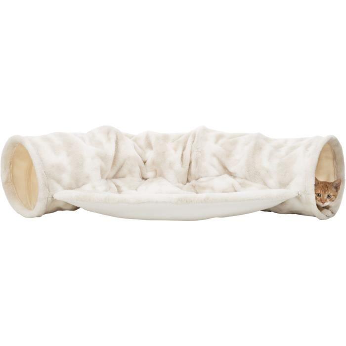 TRIXIE Tunnel de jeu Nelli avec aire de repos, en peluche - 55 x 27 x 116 cm - Blanc et taupe - Pour chat
